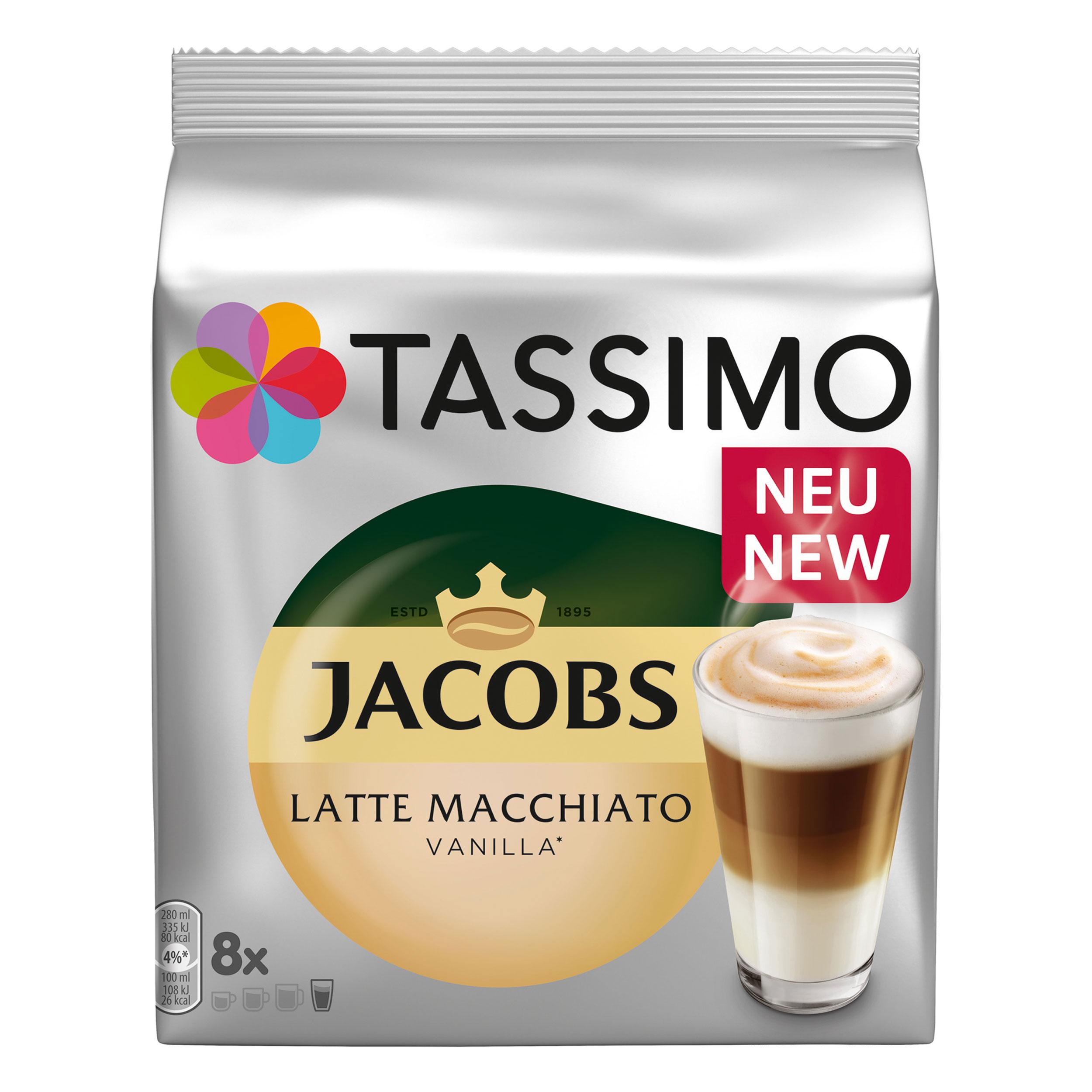 Tassimo Latte Macchiato Vanilla, Vanille Milk Coffee, Roasted, 16 T-Discs /  8 Portions at About-Tea de Shop