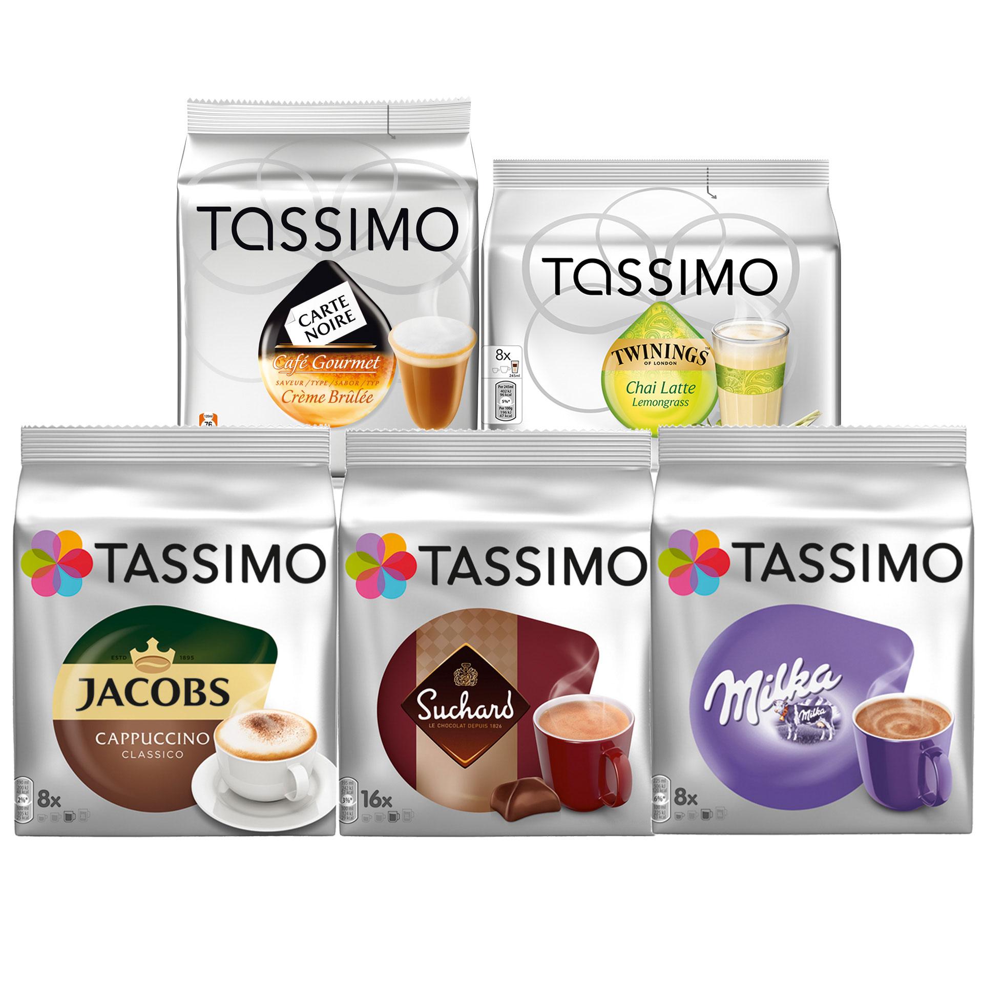 Tassimo Sweet Dreams Set Milka Chocolate Suchard Hot Chocolate Cappuccino Carte Noire Crème Brûlée Chai Latte Lemongrass 5 X 16 T Discs At