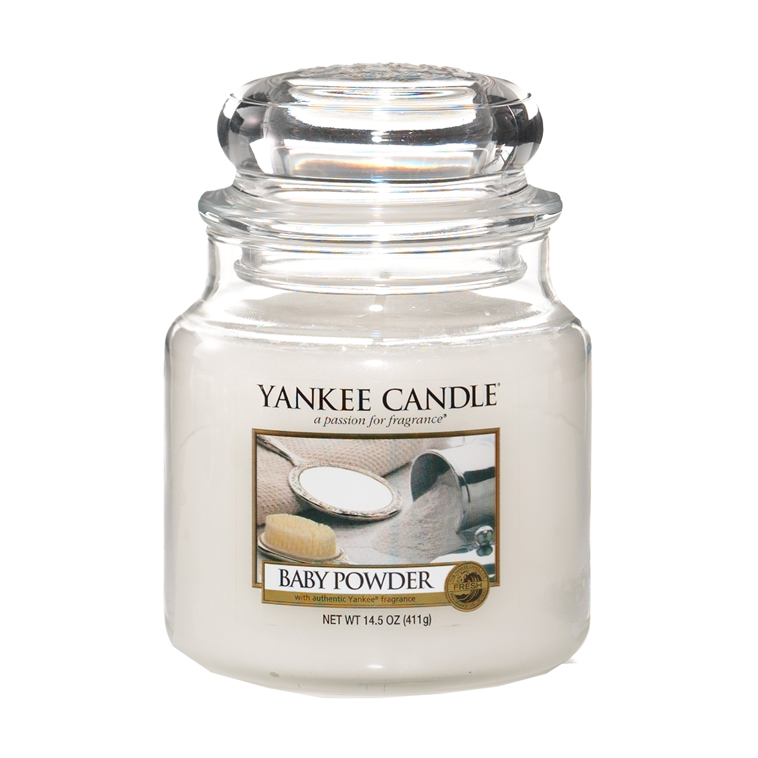 Yankee Candle Classic Housewarmer Medium Baby Powder Scented Candle Room Scent In Glass Jar 1122151e At About Tea De Shop